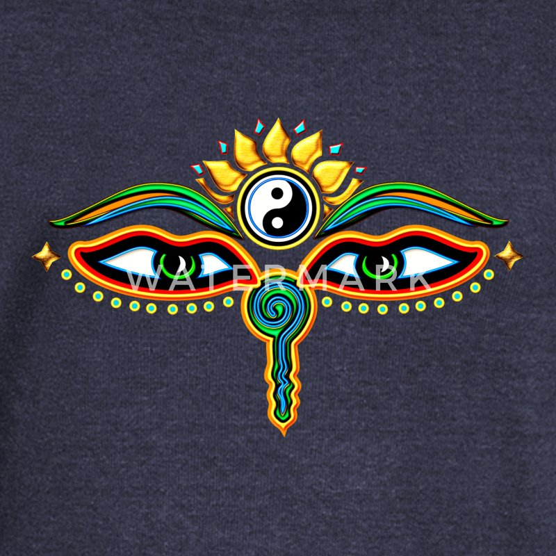 Eyes of Buddha, symbol wisdom & enlightenment,  Sudaderas - Sudadera con escote drapeado mujer