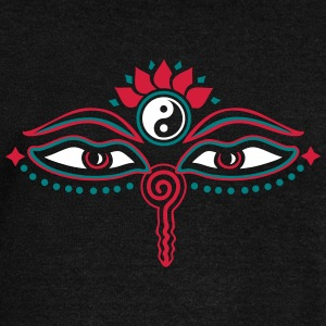 Buddha Eyes, Lotus, symbol wisdom & enlightenment Hoodies & Sweatshirts - Women's Boat Neck Long Sleeve Top