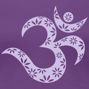 OM Mantra symbol, flowers, patterns, Aum, Buddhism T-Shirts - Women's Premium T-Shirt