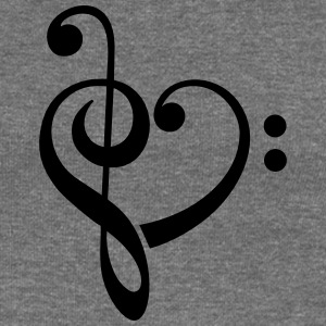 Bass clef heart, treble clef, music lover Hoodies  - Women's Boat Neck Long Sleeve Top