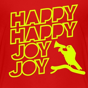 Kinder T-Shirt: Happy Happy Joy Joy - neon yellow - Kinder Premium T-Shirt
