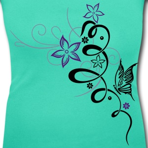 Tribal mit Blumen und Schmetterling T-Shirts - Women's Scoop Neck T-Shirt