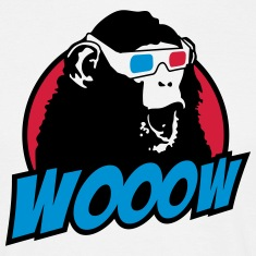 3D Glasses amazed Monkey T-Shirts