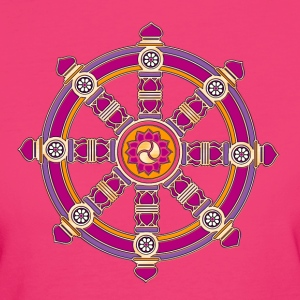 Dharmachakra, Darma Wheel of Law, Buddhist Symbol T-shirts - Ekologisk T-shirt dam