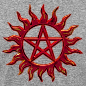 Pentagram - Blazing Star- Sign of intellectual omnipotence and autocracy. digital red, Star of the Magi , powerful symbol of protection T-skjorter - Premium T-skjorte for menn