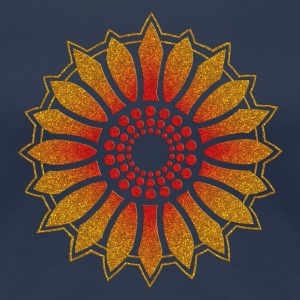 Sunflower - Follow the light!, digital glitter, symbol of vitality, joy and confidence, energy icon, symbol of green politics T-shirts - Dame premium T-shirt