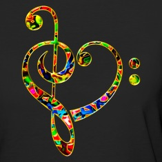 Bass clef heart, treble clef, music lover, notes T-Shirts