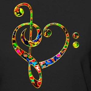 Bass clef heart, treble clef, music lover, notes Camisetas - Camiseta ecológica mujer