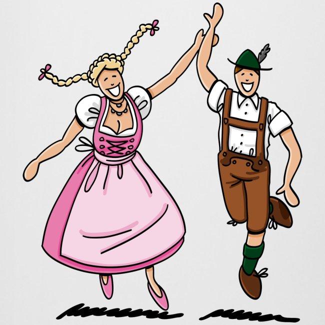 Bierkrug Oktoberfest Tanzpaar Lederhosen Dirndl