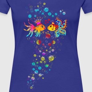 Bubble Love, Fish, water, heart, holiday, sea,  T-shirts - Vrouwen Premium T-shirt