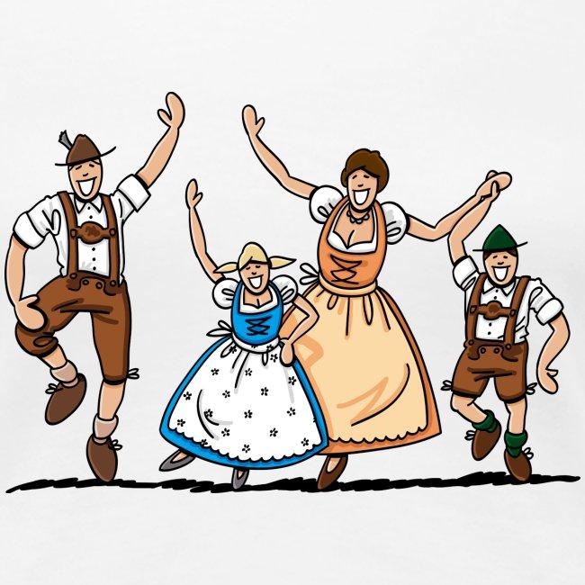 Damen T-Shirt Oktoberfest Fröhliche Familie