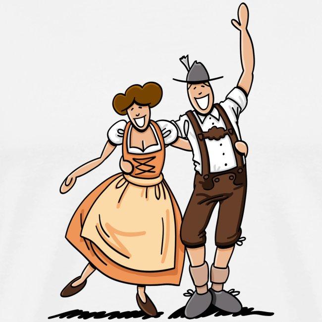 Herren T-Shirt Oktoberfest Fröhliches Paar