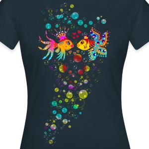 Bubble Love, Fish, water, heart, holiday, sea,  T-shirts - Dame-T-shirt
