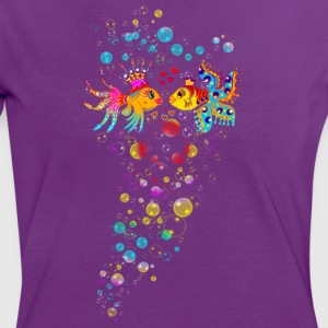 Bubble Love, Fish, water, heart, holiday, sea,  T-Shirts - Women's Ringer T-Shirt