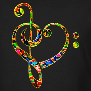Bass clef heart, treble clef, music lover, notes Camisetas - Camiseta ecológica hombre