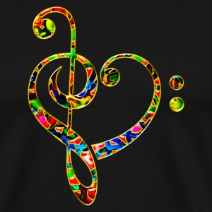 Bass clef heart, treble clef, music lover, notes T-shirts - Mannen Premium T-shirt