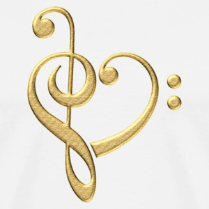 Bass clef heart, treble clef, music lover, notes Koszulki - Koszulka męska Premium