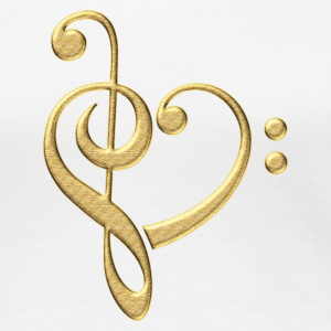 Bass clef heart, treble clef, music lover, notes Koszulki - Koszulka damska Premium