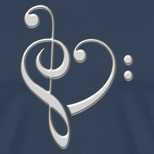 Bass clef heart, treble clef, music lover, notes T - Men's Premium T-Shirt