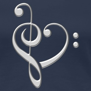 Bass clef heart, treble clef, music lover, notes Camisetas - Camiseta premium mujer