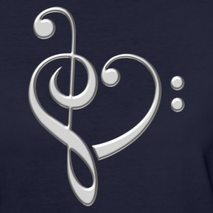 Bass clef heart, treble clef, music lover, notes T - Women's Organic T-shirt