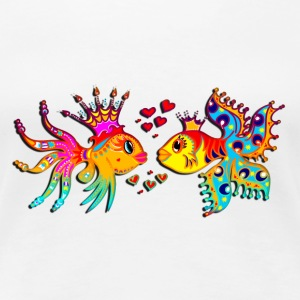 FISH IN LOVE, Bubbles, Sea, Ocean, Holiday, Surf T-Shirts - Women's Premium T-Shirt