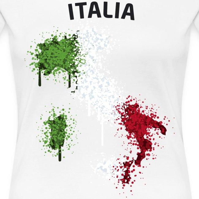 Damen Fußball Fan T-Shirt Italia Graffiti