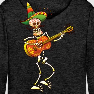Mexican Skeleton Playing Guitar Hoodies & Sweatshirts - Men's Premium Hoodie