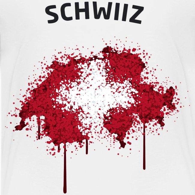 Kinder Fußball Fan T-Shirt Schwiiz Graffiti