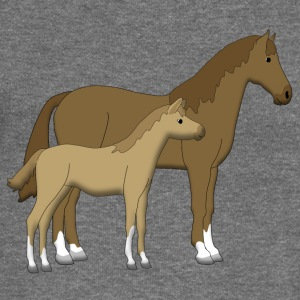 horse and foal brown Hoodies & Sweatshirts - Women's Boat Neck Long Sleeve Top
