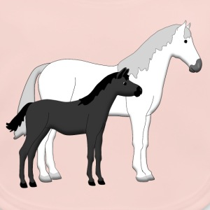 horse and foal white and black Accesorios - Babero ecológico bebé