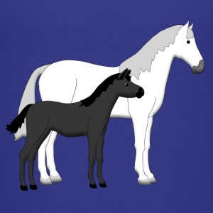 horse and foal white and black T-shirts - Premium-T-shirt barn