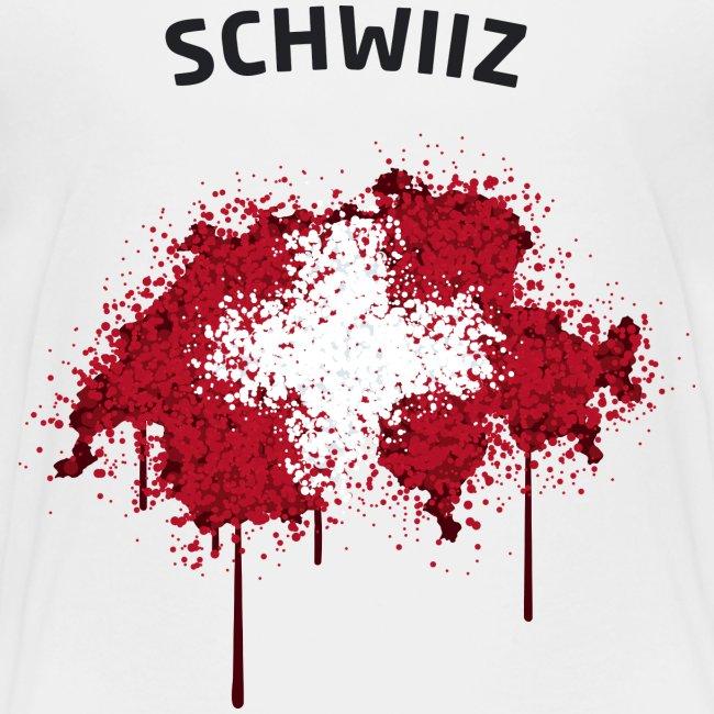 Teenager Fußball Fan T-Shirt Schwiiz Graffiti