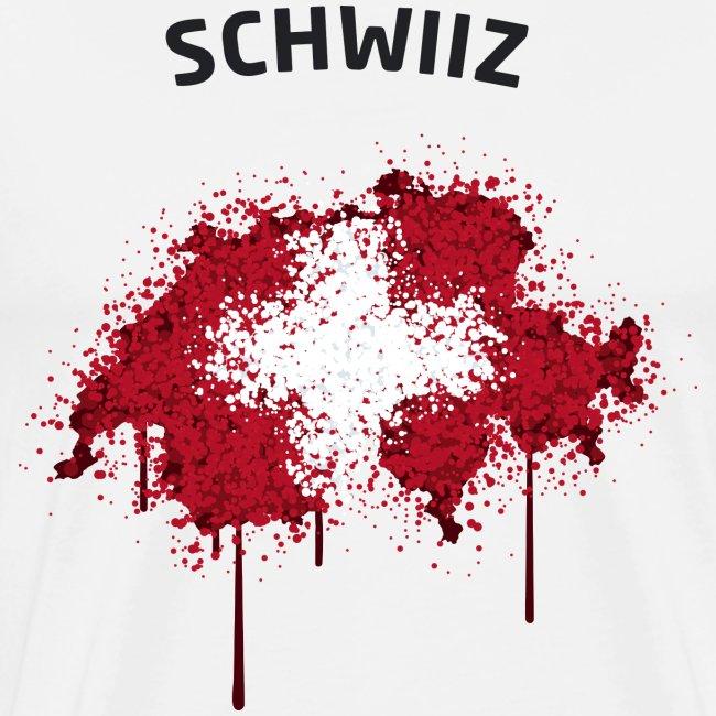Herren Fußball Fan T-Shirt Schwiiz Graffiti