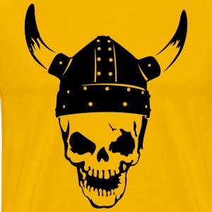 Skull with a viking helmet  T-Shirts - Men's Premium T-Shirt