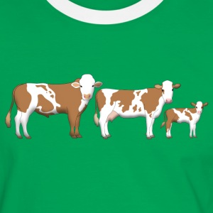 cowfamily 2 T-shirts - Mannen contrastshirt