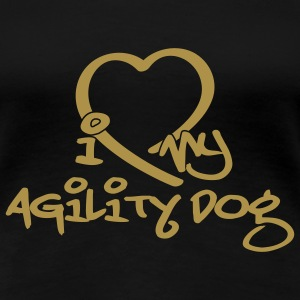 agility dog // Gold Glitzerduck, T-Shirts - Frauen Premium T-Shirt
