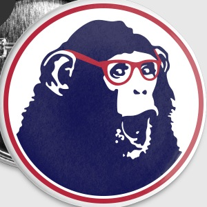 Nerdy Ape with Glasses Buttons - Buttons large 56 mm
