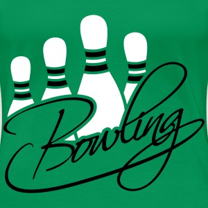 Bowling Pins Text Logo Design T-Shirts - Women's Premium T-Shirt
