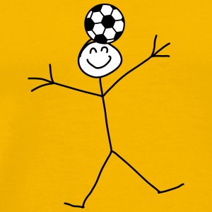 Funny Soccer Header Stick Figure T-Shirts - Men's Premium T-Shirt