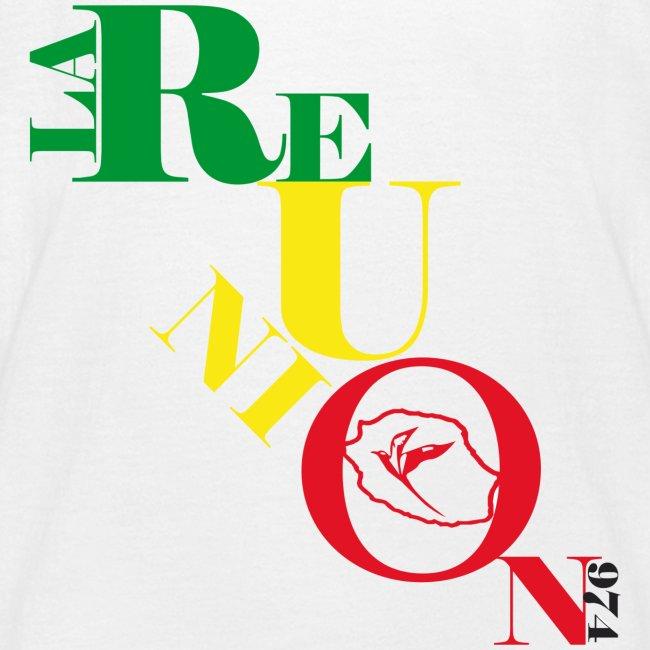 T-shirt Enfant écriture la Réunion paille en queue - 974