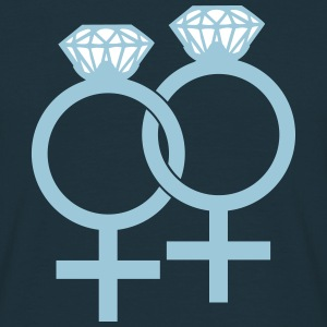 Lesbian Marriage Ring Symbol T-shirts - Mannen T-shirt