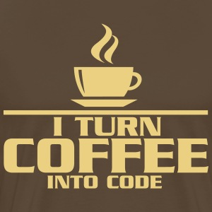 I turn coffe into code T-shirts - Herre premium T-shirt
