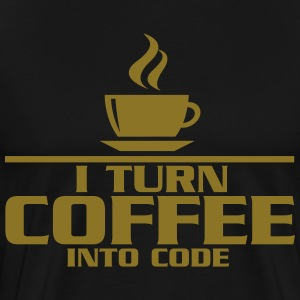 I turn coffe into code T-shirts - Mannen Premium T-shirt