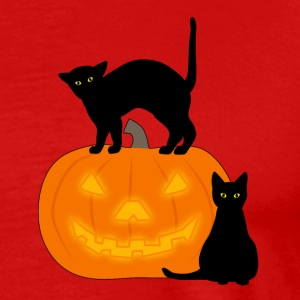 cat and pumpkin T-skjorter - Premium T-skjorte for menn
