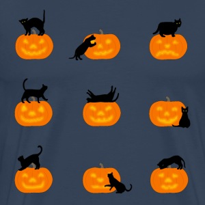 cats and pumpkins T-skjorter - Premium T-skjorte for menn