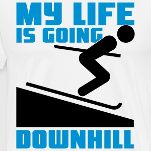 Skiing: My lie is going downhill T-shirts - Mannen Premium T-shirt