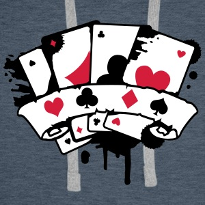 four playing cards and a banner Hoodies & Sweatshirts - Men's Premium Hoodie