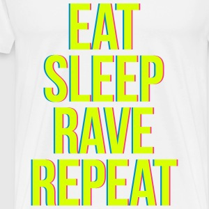 eat sleep rave repeat colourful T-shirts - Herre premium T-shirt