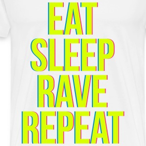 eat sleep rave repeat colourful T-skjorter - Premium T-skjorte for menn